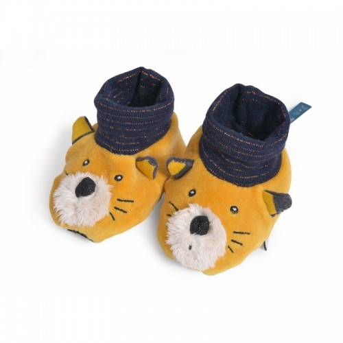 Chaussons chat moutarde 0-6mois