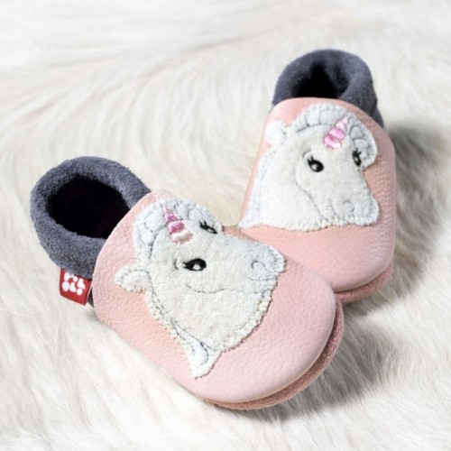 "POLOLO Chaussons en cuir "" Licorne"""